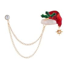 Fashion Christmas Brooch Pins Cute Christmas Cane Hat Chain Enamel Brooches For Women 2020 Xmas Gift imitation pearls christmas tree brooch pin women fashion rhinestone brooches xmas new year gift