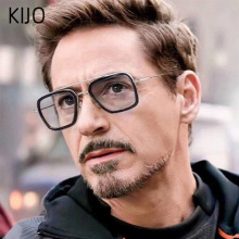 Новая Мода Мстители Тони Старк солнцезащитные очки для мужчин металлический квадратный железный человек очки стимпанк мужские Oculos De Sol