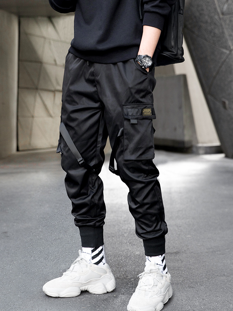 Paratroopers Function-Style Bib Overall Men 2019 New Style Autumn Casual Loose-Fit Popular Brand Ankle Banded Pants Sub-Black An