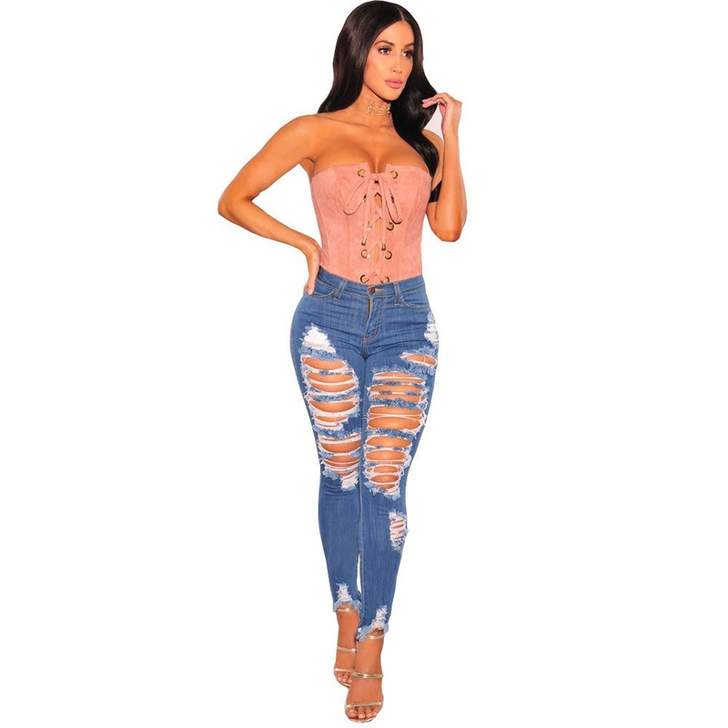 2019 Summer Autumn Streetwear Blue High Waist Stretchy Hole Jeans Women Fashion Ripped Button Jeans Plus Size