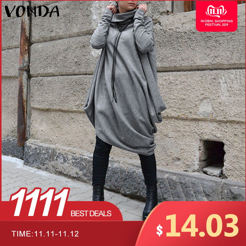 VONDA Warm Solid Color Winter Dress Casual Loose Long Sleeve Turtleneck Sweatshirts Pullover Dresses Female Plus Size Vestidos