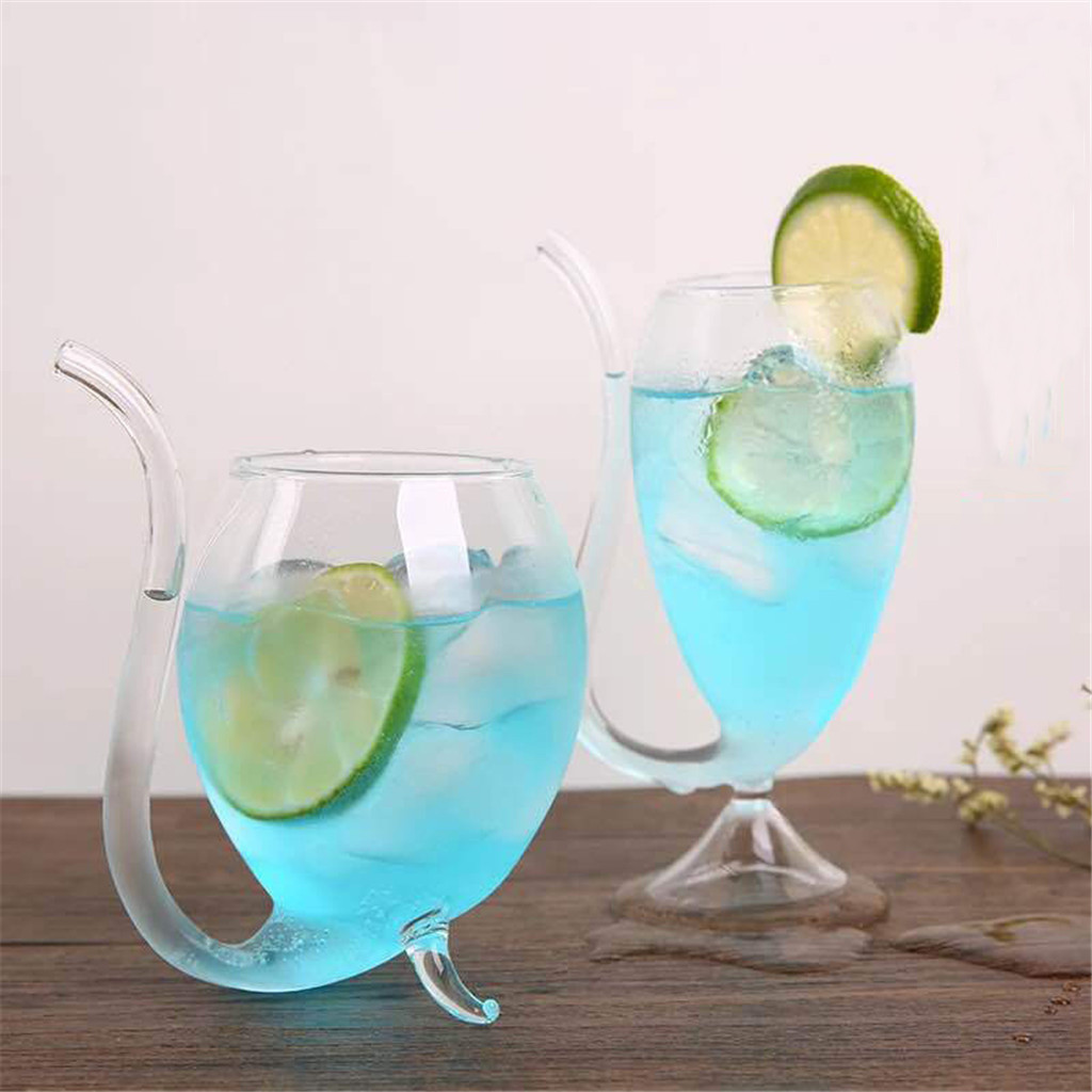 300ml Red Wine Glass Cups Whiskey Glass Heat Resistant Glass Sucking Juice Milk Cupstea Wine Cups With Drinking Tube Straw45#
