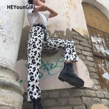 HEYounGIRL – pantalon décontracté ample imprimé vache à lait pour femme, taille haute élastique, Baggy, survêtement droit, été coréen
