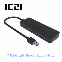 ICZI 7 in 1 7 Port USB 3.0 Hub USB with DC Power Supply USB Splitter Hubs for Apple Macbook Air Laptop PC Tablets