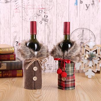 Najnowszy 2 szt Świąteczne butelki wina sweter butelki wina zestawy sukienek Xmas kołnierz i płaszcz z guzikami projekt butelki wina tanie i dobre opinie Stałe NONE Pojedyncze uchwyty na kubki CN (pochodzenie) Wbudowane Kubek i posiadacze suszarka GS20112004 Drewna