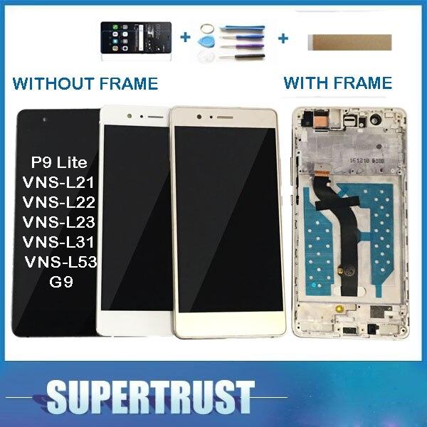 Com/Sem Moldura Original Para Huawei G9 P9 Lite VNS-L21 VNS-L22 VNS-L23 VNS-L31 Display LCD + de Tela de Toque Do Sensor vidro + kit