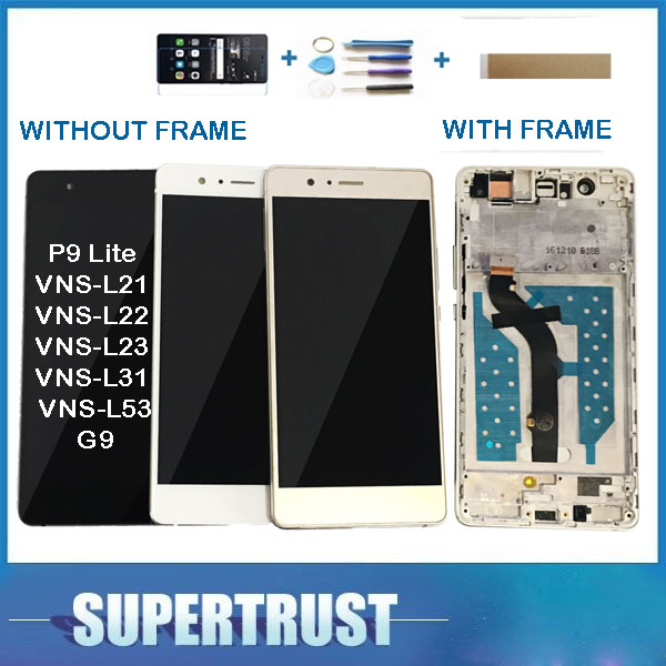 Com/sem moldura original para huawei g9 p9 lite VNS-L21 VNS-L22 VNS-L23 VNS-L31 display lcd + touch screen sensor de vidro kit