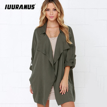 IUURANUS Women Jack Coat Autumn Long Sleeve Hooded Rolled Waterfall Cardigan Outwear Jumpers Jacket top