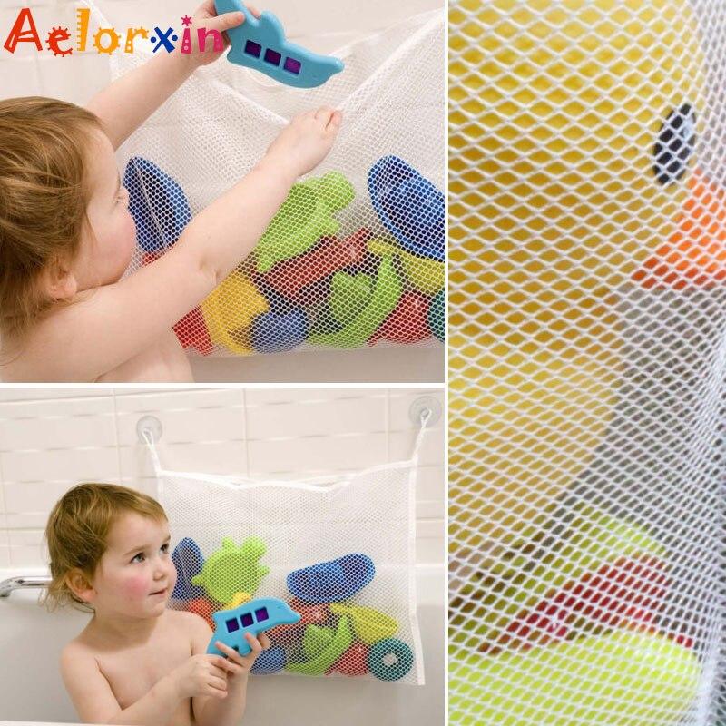 Anne ve Çocuk'ten Bebek Küvetleri'de 2019 yenidoğan bebek banyo Net emme depolama katlanır asılı örgü Net çanta çevre dostu banyo duş oyuncak organizatör küvet oyuncaklar title=