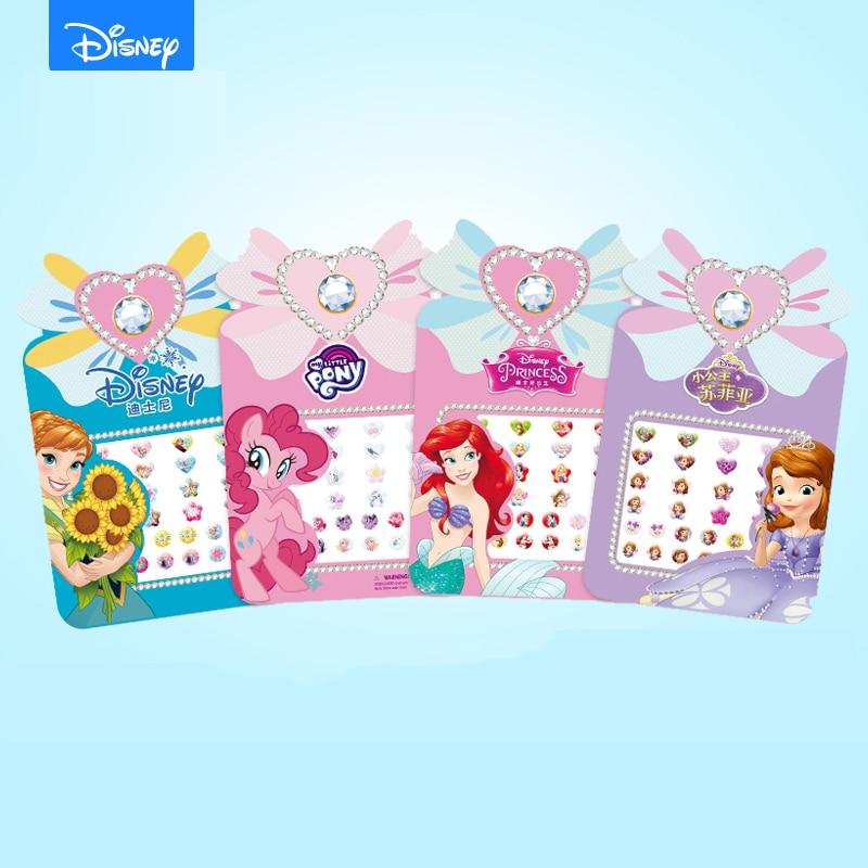 Disney Frozen Elsa Anna Girls Princess 3D Earrings Stickers Sophia Pony Kids Makeup DIY Toys Phone Decoration Ear Studs Sticker
