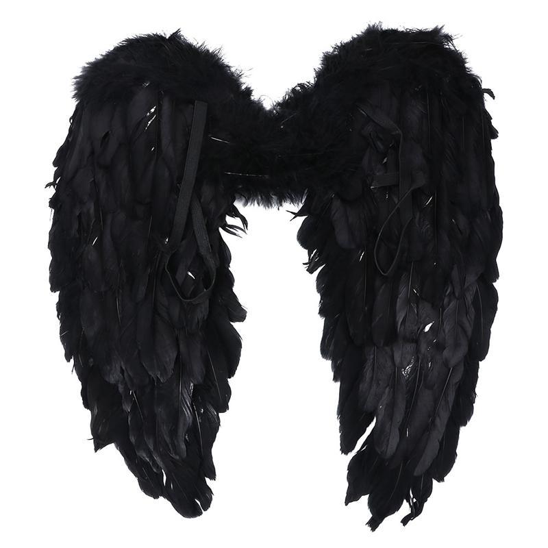 Ангельские крылья из перьев одежда для рождественской вечеринки, сценическое исполнение (черный)