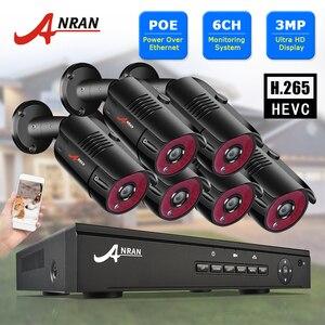 Камера видеонаблюдения ANRAN H.265 POE, система безопасности, 6 каналов, 3 Мп, HD, IP, водонепроницаемая, для улицы, NVR, приложение