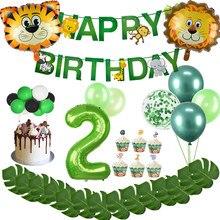 Decoración de fiesta de cumpleaños para niños de 2 años, banderín con número de globos verde, suministros para fiesta