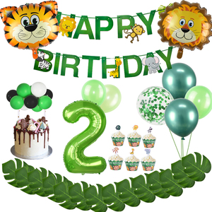 2nd Birthday Party Decoration Green 2 Birthday Balloons Number Banner 2 Year Old Kids Two Birthday Cartoon Animal Party Supplie