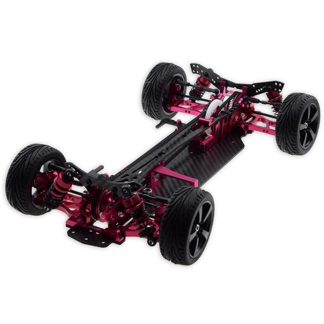 Red 1//10 Alloy Carbon SAKURA D4 RWD Drift Car Chassis Frame Body Kit #KIT-D4RWD