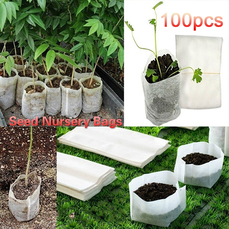 100PC/set Biodegradable Non-woven Seedling Pots Eco-Friendly Planting Bags Nursery Bag Plant Grow Bags Fabric Pouch