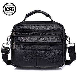 Image 2 - Messenger Bag Men Genuine Leather Bag Luxury Handbag Belt Bags Shoulder Bags For Men 2019 Fashion Flap Male Leather Handbags KSK