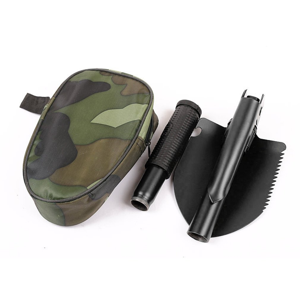 N\A Portable Folding Shovel Camping Shovel Mini Trenching Shovel Multi Function Folding Spade for Hiking Backpacking Gardening with Carrying Pouch