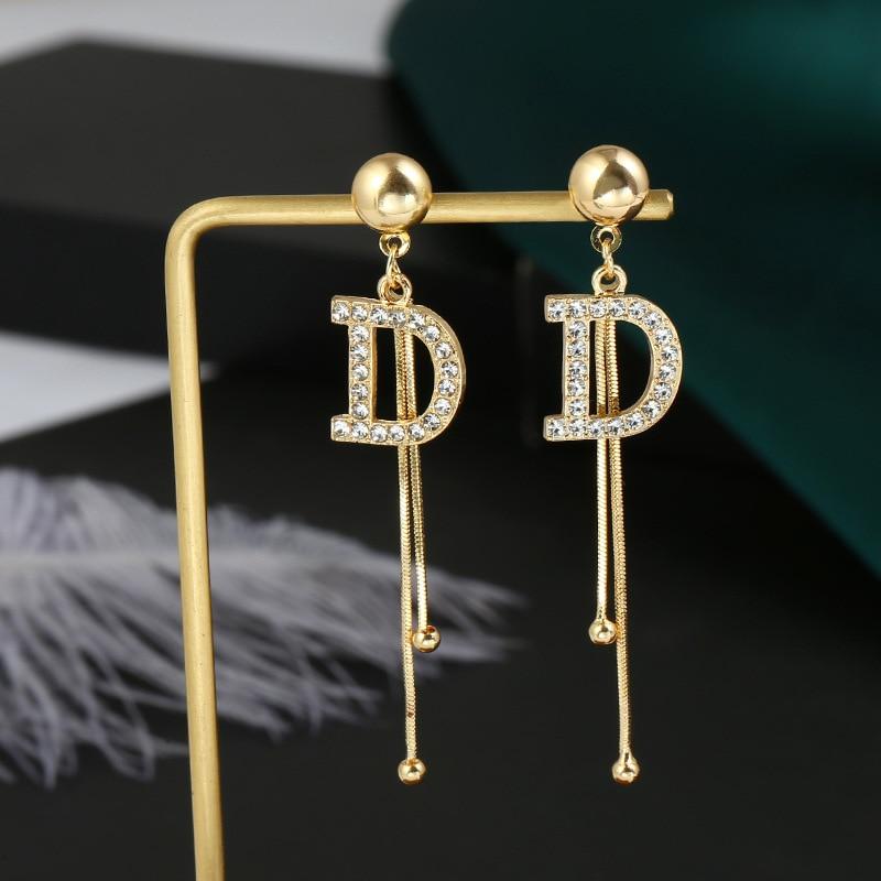 Luxury Brand Tassel Crystal Letter D Long Drop Earrings For Women Fashion Earrings Statement Wedding Jewelry oorbellen brincos