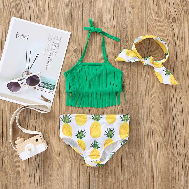 Summer Infants Child Girls Swimming Pool Seaside Beach Swimming Bathing Suit Green Sling Two-piece Swimsuits New Products Hot Se