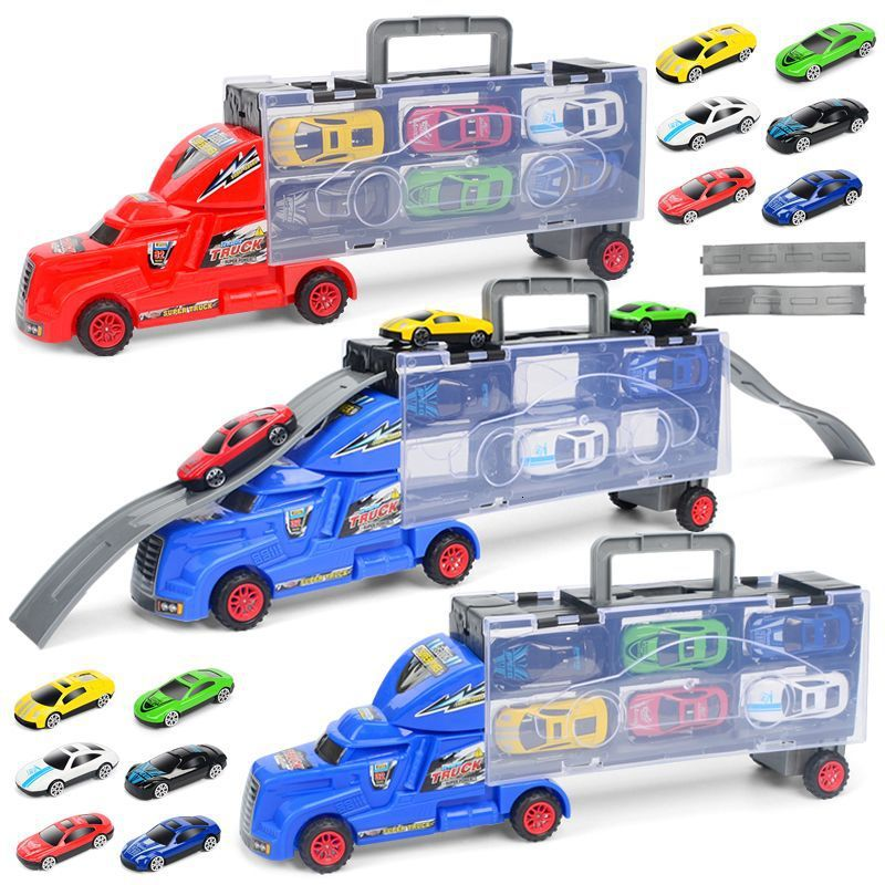 Diecast Metal Alloy Pixar Cars Model Toys For Children Metal Truck <font><b>Hauler</b></font> With 6 Small Cars Storm Toys For Kids Gift image