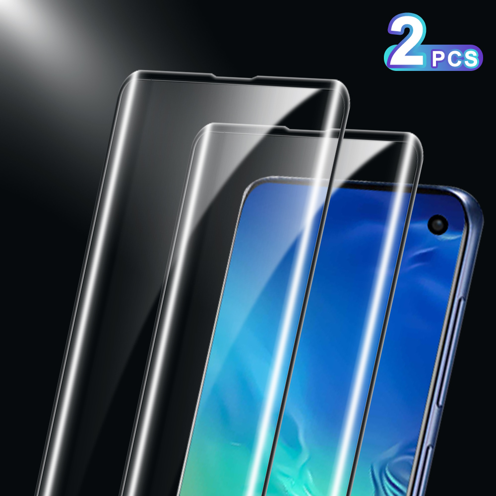 2PCS Tempered Glass For Samsung S10 Plus S10E S9 S8 Plus Curved Glass For Samsung Note 8 9 10 Note 10 Plus Pro Screen Protector