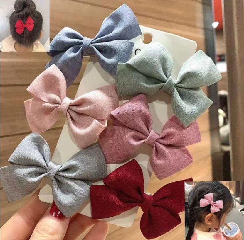 6pcs/set New Women Colorful Bow Hairpins Girls Lovely Hair Clips Hair Ties Ropes Headwear Korea Hair  Accessories HairgripsJ128