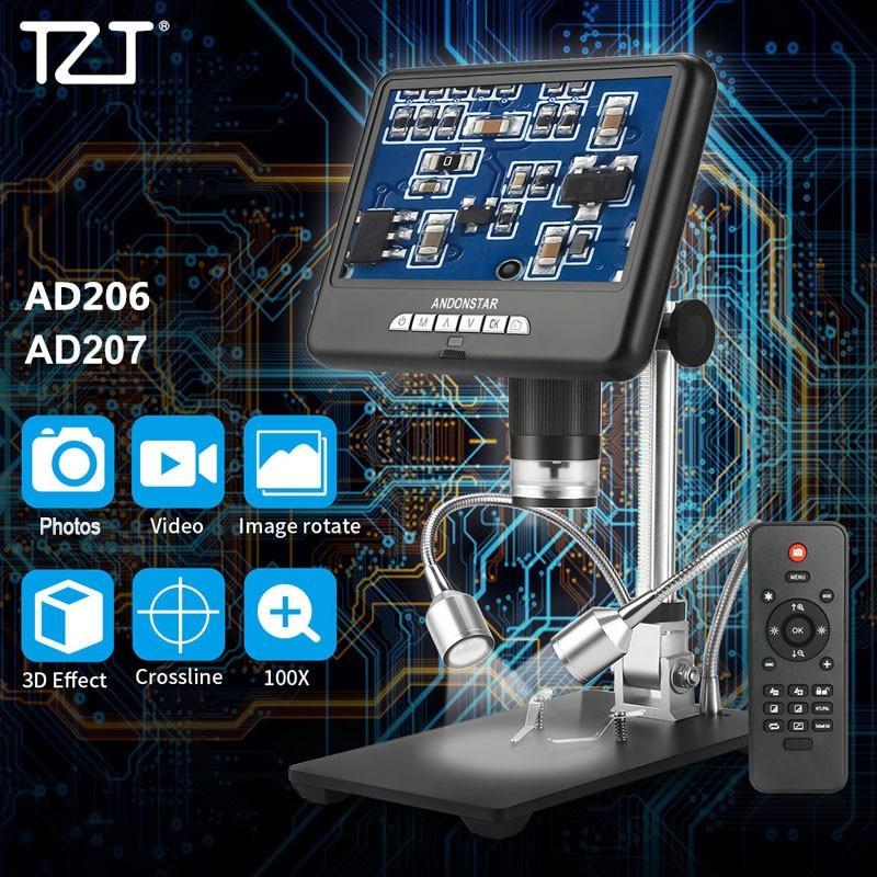 Rotação de Imagem com Suporte Andonstar Digital Microscópio 3d Ajustável 7 Tela 8 Leds Ad207 Ad206 Tzt 100x – 200×2 mp