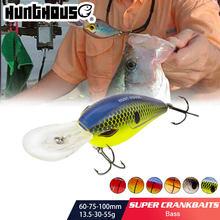 Hunthouse lw119 crankbaits pesca isca dura 100mm 75mm 60mm wobblers mergulho profundo plástico para baixo pique poleiro pesca pescar