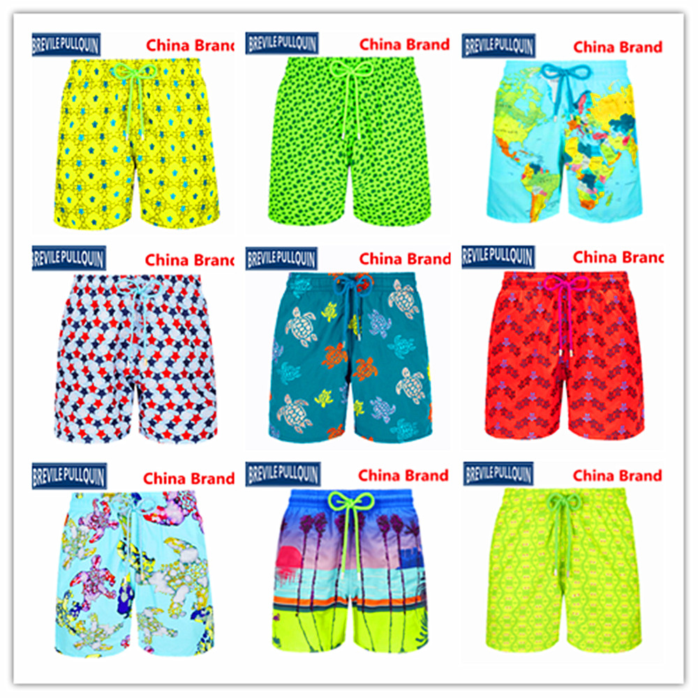 Wholesale Retail 2020 Bermuda Beach Brand Brevile Pullquin Turtles Boardshorts Men Swimwear Adults Shorts World Map Miami Crabs