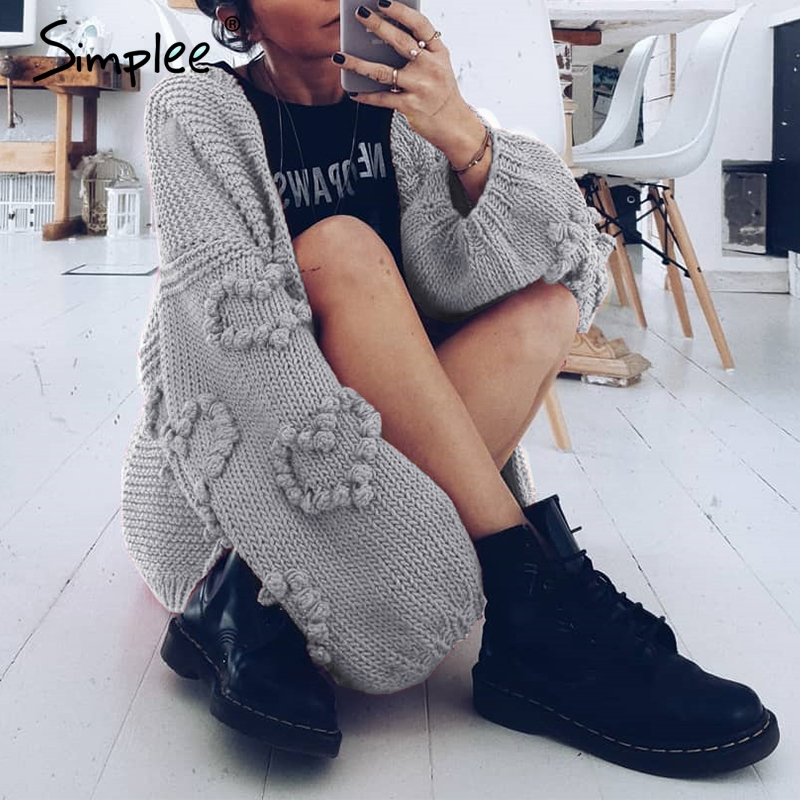 Image 5 - Simplee Loose women knitted cardigans Oversized lantern sleeve 