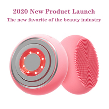 EMS Facial Cleansing Brush LED Photon Therapy Hot Compress Face Skin Care Waterproof Silicone Electric Sonic Cleanser Massager