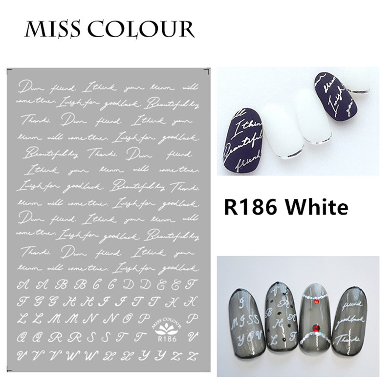 1 Sheet Nail Art Sticker Adhesive Hand Writing English Words Letters Silver White Gold Geometry Line Love Kiss Manicure Decals in Stickers Decals from Beauty Health