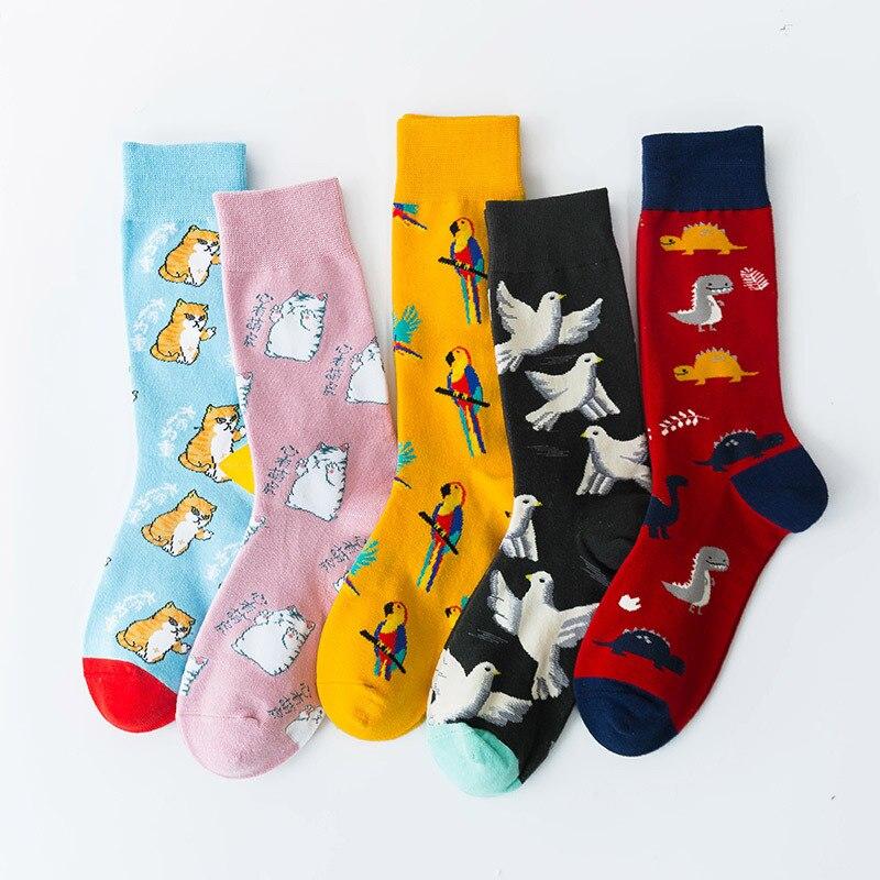 Crew Socks Funny Man Cotton Mens Sox Animal Print Green Soft Sock Cartoon Men Autumn Winter Classic Adult Calcetines Hombre