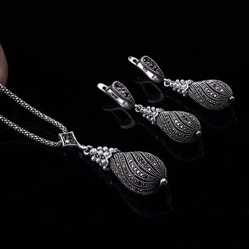 Retro Silver Color Crystal Jewelry Sets For Women Simulated Pearl Pendant Necklace/Earrings Set Wedding Gifts
