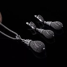 Retro Silver Crystal Jewelry Sets For Women Simulated Pearl Pendant Necklace/Earrings Set Wedding Gifts(China)
