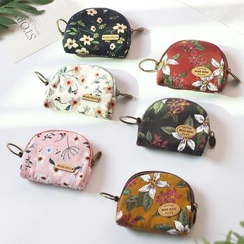 Retro Cloth Small Wallet Women's Zipper Flower Pattern Coin Purse Student Dollar Card Bag Fashion Handmade Floral Change Purses 1