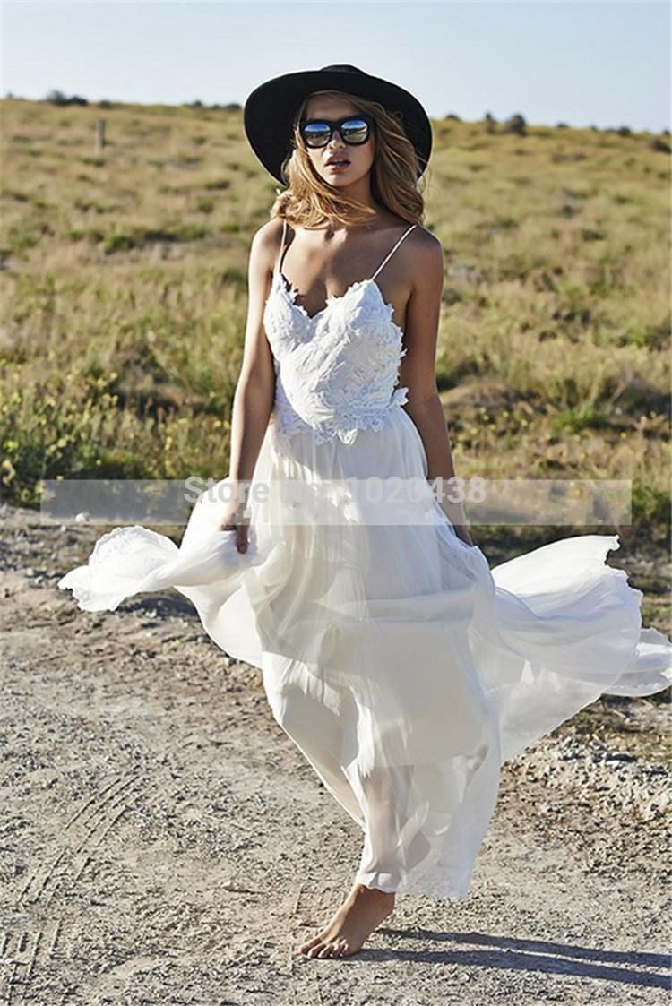 Custom Casamento New Fashionable 2015 Loves Lace Beach Backless Wedding Dresses Appliques Sexy Party Brides Chiffon Bridal Gown