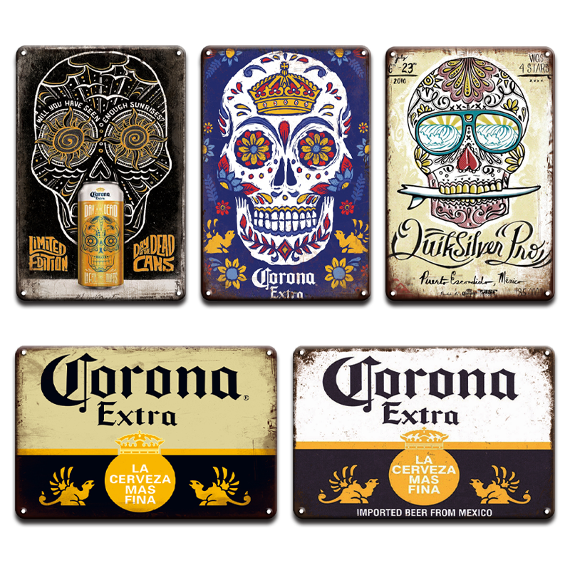 NEW Corona Extra Beer Poster Cover Wall Decor Metal Sign Vintage Pub Bar Restroom Home Beach Living Room Decoration Tin Signs