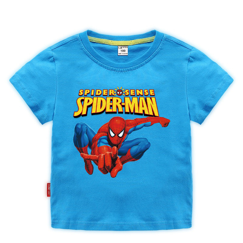 Disney Baby Spiderman T-shirt Childrens Boys Tops Girls custom Clothing T-shirt Kids Cartoon Short Sleeve Tee Clothes Summer New 5