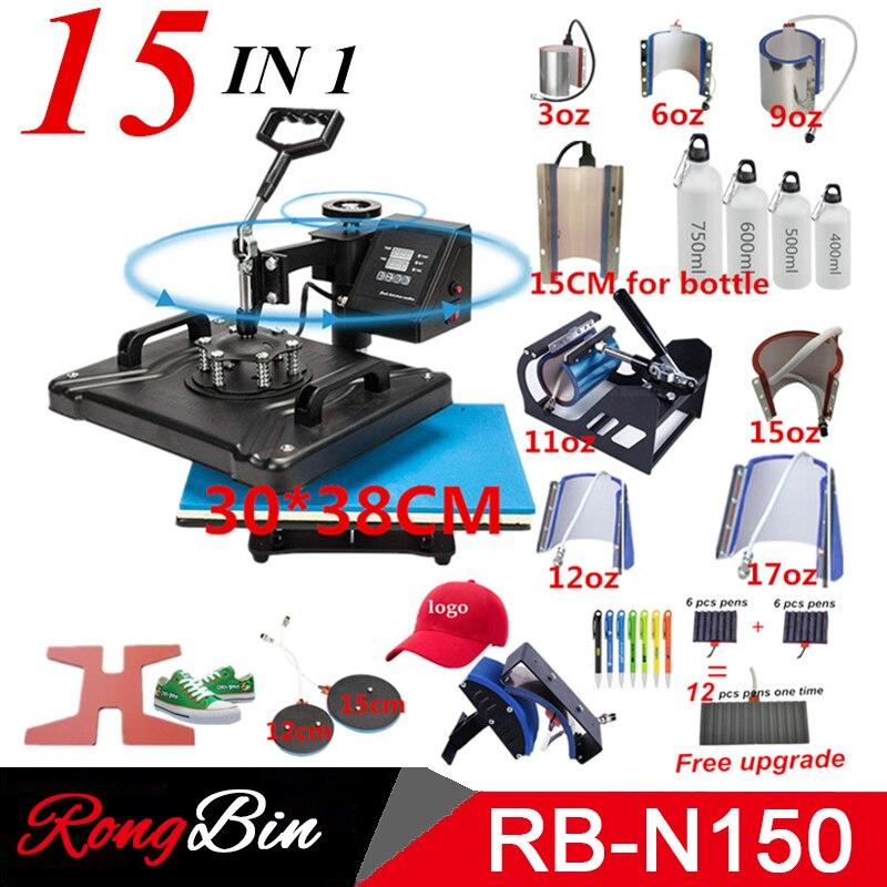 Double affichage 15 dans 1 Machine de presse de stylo de chaleur, imprimante de Sublimation/Machine de transfert de chaussure presse de chaleur pour la tasse/chapeau/t-shirt/chaussure/stylo