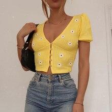 Waatfaak – t-shirt jaune brodé à fleurs pour femme, élégant, court, tricoté, Style coréen, Kawaii, été, 2020