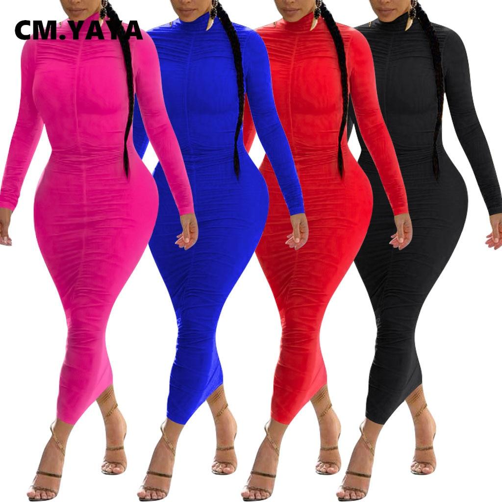 CM.YAYA Streetwear Women Stacked Long Maxi Dress Party Night Club Elegant Bandage Bodycon Ruched Midi Dresses Vestido|Dresses| - AliExpress