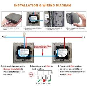 Image 5 - Bingoelec interrupteur mural tactile, 1/2/3 boutons, 2 voies, cristal blanc, pour luminaire, standard EU/UK AC110 250V