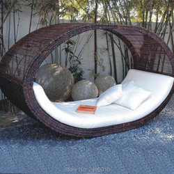 Outdoor Chaise Lounge mit Kissen, Daybed Sun Liege Rattan Braun Wasserdicht für Pool, Strand, Terrasse