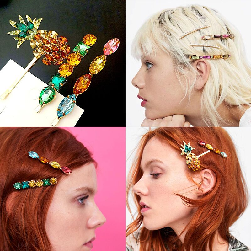 Fashion Crystal Pineapple Hair Clips Acrylic Metal Barrette Hairpin Styling Tool Bobby for Women Girl