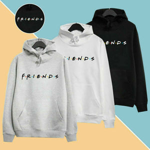 Harajuku Men Women Friends Print Hoodies Pullover Cool Letters Elegent Unisex Sport Sweatshirt White Black Casual Hoodies