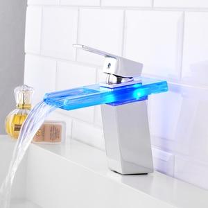 Image 3 - Bathroom Waterfall Led Basin Faucet Glass Waterfall Brass Made Basin Faucet Bathroom Mixer Tap Deck Mounted basin sink Mixer Tap