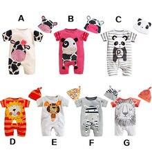 Roupas de bebê recém-nascido estilo animal infantil macacão + chapéu bebê meninas conjunto algodão tollder crianças traje panda bebê menino macacão