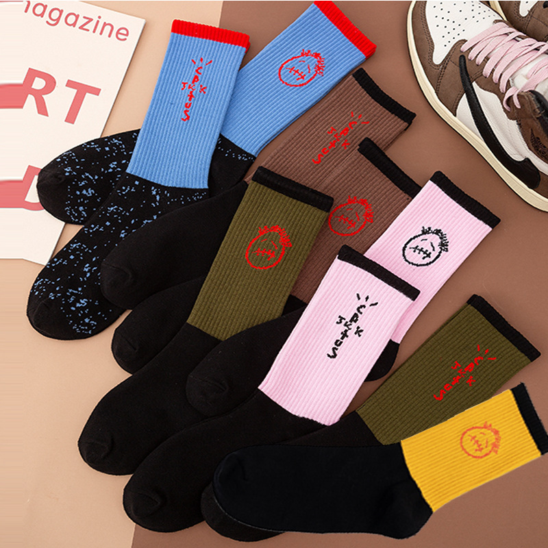 Freeshipping Adult Man Woman Crew TS Socks Travis Unhappy Face Look Pink Dark Brown Sox Casper Twitch Mouth Street Scott Fashion
